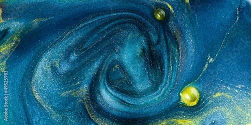 abstract blue pigment with yellow insertions - 49525983