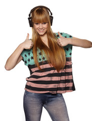 beautiful girl in headphones