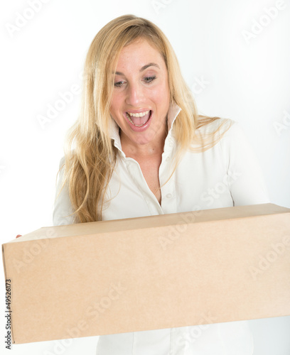 Happy woman with online purchase