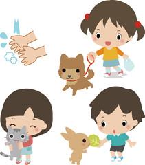 ペットと触れ合う子供たちと手洗いのイメージ