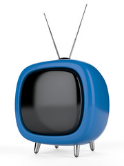 Blue a retro the TV. 3d image. Isolated white background.