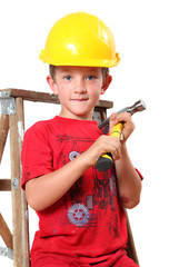 Young handyman with hammer