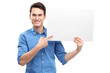 Man pointing at blank poster