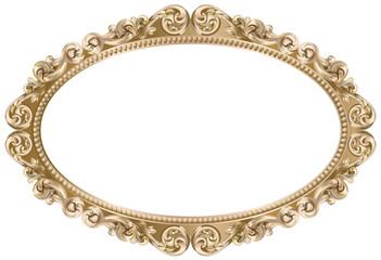 Cadre baroque ovale doré