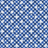 Navy Blue Gingham with Flowers Fabric Background