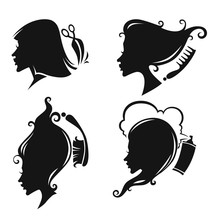 vecteur de collecte des femmes tête de silhouettes et coiffeur equi
