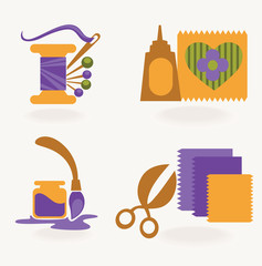 hand made and craft, vector collection of symbols and icons
