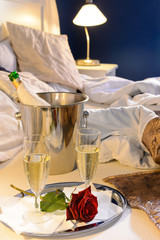 Champagne rose bed celebrate special occasion bedroom