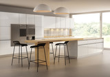 Fototapety Contemporary minimal  kitchen with garden view