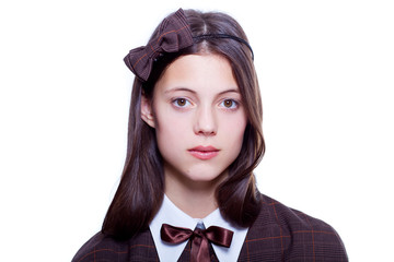 school girl wearing old style formal clothes - isolated