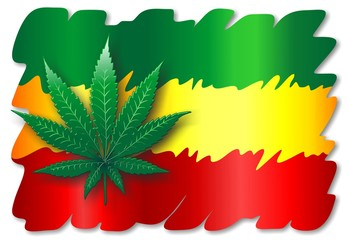 Rasta Flag and Cannabis Leaf- Foglia Marijuana Bandiera Rasta