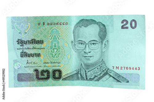 twenty thai baht on white background