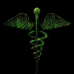 Digital Medical Concept - Caduceus Shaped Electronic Circuit