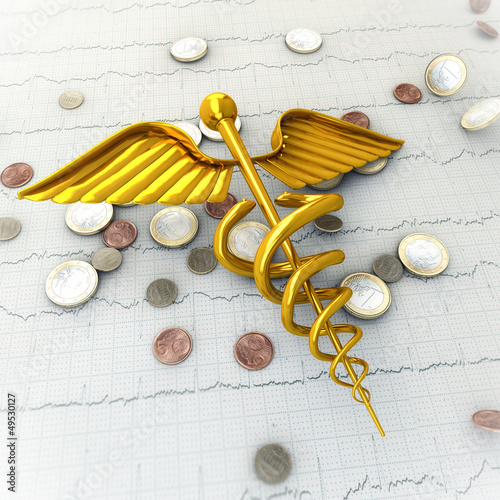 Golden Caduceus on Ecg - Ekg Paper with Coins - Spending Money o