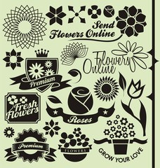Set of flower symbols, icons and signs