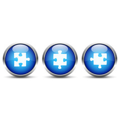 Puzzelteil Button Set Blau