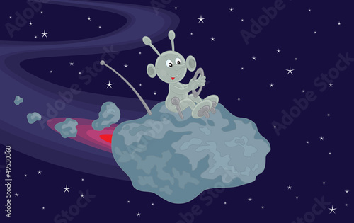 Funny alien flies on a small asteroid in space