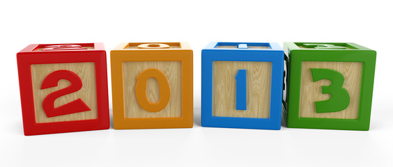 3D numbered cubes showing the new year of 2013