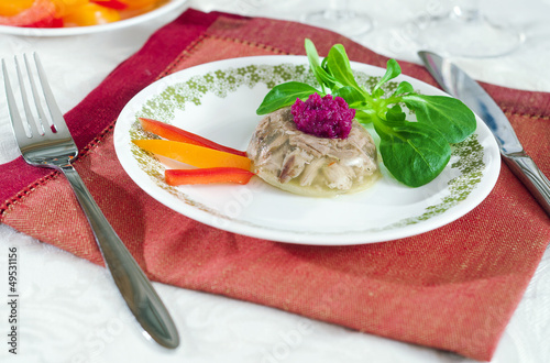 Aspic with beetroot horseradish