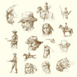 indian chiefs, cowboys - sketches, hand drawn set