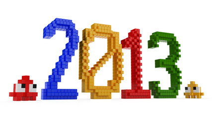 3D toy blocks 2013 text and pixel game characters