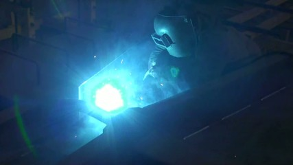 bright blue flashes from welding