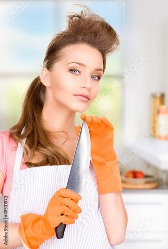 housewife with big knife