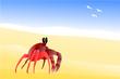 Un crabe à la plage