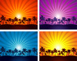 Tropical summer sunset palm tree silhouettes eps 10