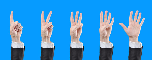 counting businessman hands