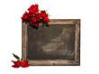 unbeschriebene Tafel mit Rosen