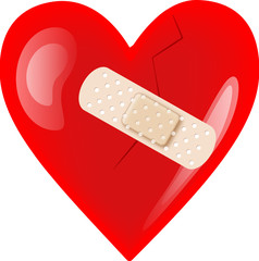 wounded broken heart with plaster isolated on white-vector