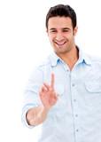 Man touching a screen