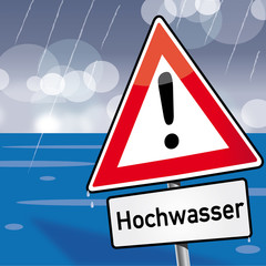 Achtung Hochwasser Schild Unwetterwarnung Deichbruch Pegelstand