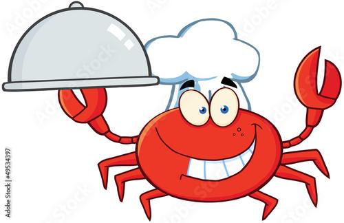 Crab Chef Cartoon Mascot Character Holding A Platter