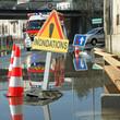 Leinwanddruck Bild - inondation d'une rue