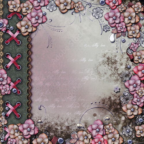 Album cover  with flowers and pearls