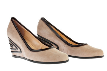 Beige suede platform shoes