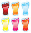 Glass of juice with splash - colorful icons set