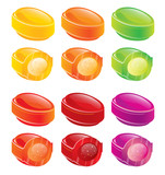 Glossy candies - colorful icons set