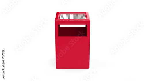 Trash bin rotates on white background