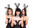 Three sad woman wearing a bunny costumes