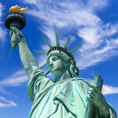 statue of liberty, new york, usa, blue sky with clouds