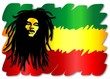 Постер, плакат: Reggae Singer on Rasta Colors Uomo e Colori Rasta Vector