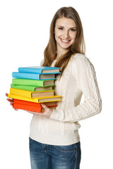 Woman holding heap of books