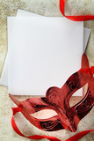 Vintage carnival mask with blank paper card