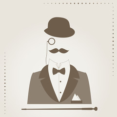 Retro vector illustration of  elegant gentlemen