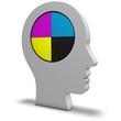 Kopf mit Druckfarben
