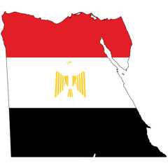 Country outline with the flag of Egypt