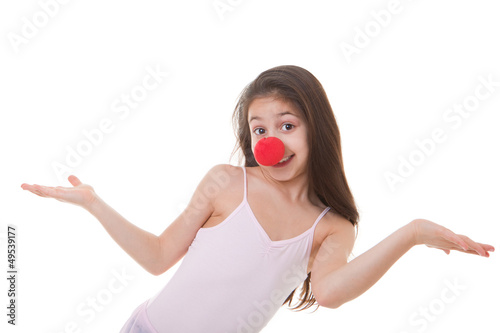 kid with red clown nose
